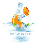 Ripe fresh oranges and ice cubes falling to water. Vector