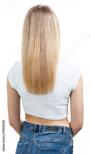 Back view of woman with long blond hair.