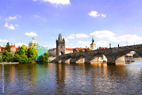 Deurstickers Praag Charles Bridge in Prague, capital city of Czech republic, Europe