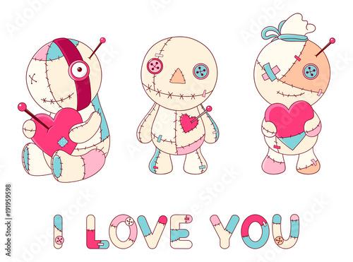 Set of cute voodoo dolls - 191959598