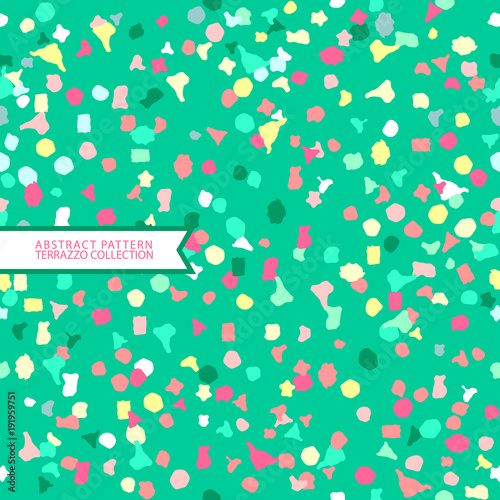 Abstract Pattern, Green Background,Terrazzo Design