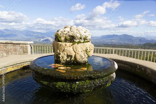 fountain in the terrace of sanctuary madonna dei lattani