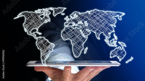 Foto Murales Businessman using a smartphone with a Hand drawn world map on a futuristic interface