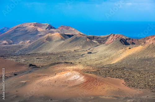 Foto op Aluminium Blauw Volcanic landscape at Timanfaya National Park, Lanzarote Island, Canary Islands, Spain