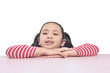 Portrait of asian little girl lean on the table