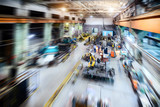 Factory shop. Abstract industrial background, motion blur effect. - 191961733