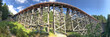 Panoramic view of Kinsol Trestle wooden bridge in Vancouver Island, Canada