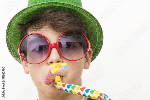 teenager or preteen disguised as a carnival or birthday