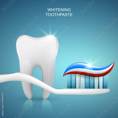 Healthy tooth and toothpaste on toothbrush, vector banner