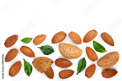 almonds with leaves isolated on white background with copy space for your text. Top view. Flat lay pattern - 191966926