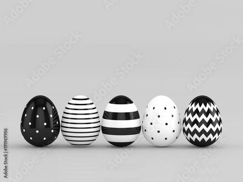 3d rendering Wielkanocni jajka w rzędzie nad szarym tłem z miejscem dla teksta