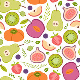 seamless pattern with healthy fruits - 191971164