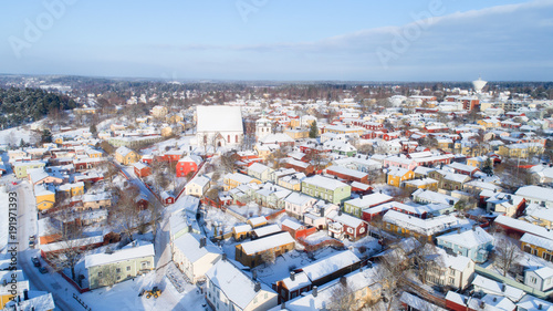 Foto Murales Top view of  beautiful old town in Porvoo at winter. Finland