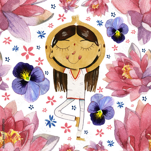 watercolor cute cartoon girl in yoga lotus pose seamless pattern - 191974119