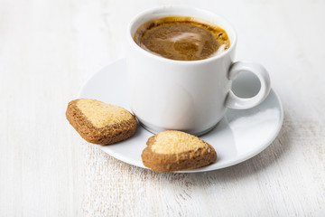Heart-shaped biscuits and coffee
