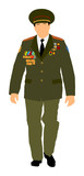 Soviet army officer in uniform vector illustration. Russian general marshal profile vector. Soldier in uniform.  - 191976392