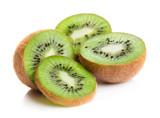 heap of kiwi slices isolated on white background - 191976577