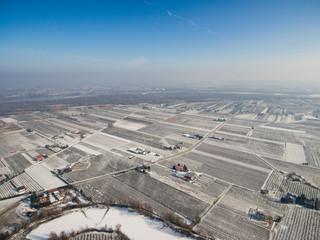 Widoku z lotu ptaka na zimowe sady owocowe w okolicach Czerska i Góry Kalwarii © lukszczepanski