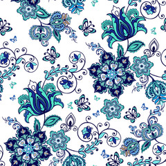 Luxurious seamless oriental ornament with fantastic flowers and paisley. Floral wallpaper. Decorative ornament for fabric, textile, wrapping paper.
