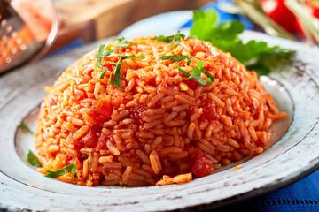 Tasty Greek domatorizo or tomato rice