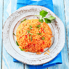 Rustic plate of tasty savory Greek tomato rice