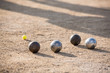 Petanque French Traditional Game / Close Up Petanques Bowls Under the Sun Of Marseille