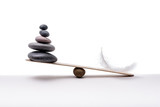 Stone balance with plume. Concept of hard and easy. - 191981503