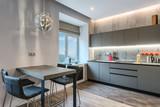 Modern gray kitchen interior - 191983924