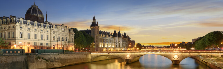 Boat tour on Seine river in Paris with sunset. Paris, France