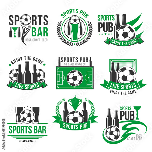 Vector soccer sport bar football beer pub icons