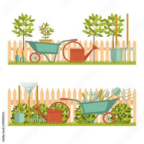 Foto Spatwand Boerderij Concept of gardening. Garden tools