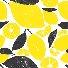 Cute bright and fun summer seamless pattern. Fresh lemon graphic drawing. Modern and trendy mix of colors yellow and black. Grunge texture illustration.
