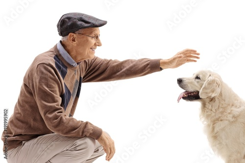 Senior petting a dog
