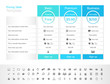 Pricing table with 3 plans and place for description. Blue header colour scheme. - 191996111