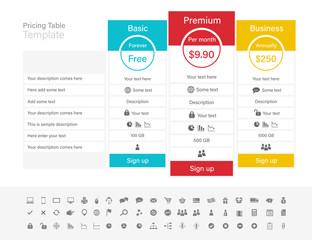 Pricing table with 3 plans and one recommended. Blue, red and yellow header