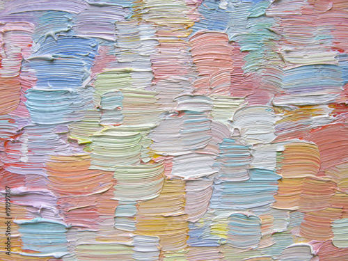 Colorful brush strokes as abstract painting background. Detailed oil paint texture.  Can be used  for web design, art print, textured fonts, figures, shapes, etc. © naum2525