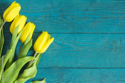 Fototapeta Beautiful fresh tulips on wooden background