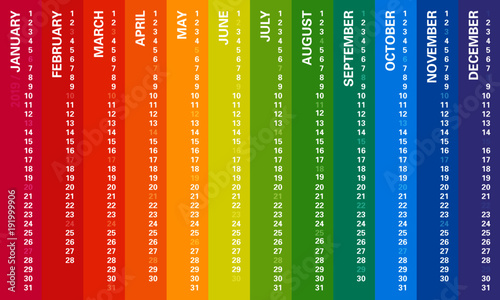 Creative wall calendar 2019 with vertical rainbow design, sundays selected, english language. Multicolored template for web, business, print, postcard, wall, bookmark and banner.