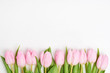 Pink tulips border on white background. Copy space, top view - 192001393
