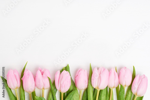 Pink tulips border on white background. Copy space, top view
