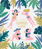 Girls sunbathing on the tropical beach. Vacation background with lettering - Summer time. Vector poster design. - 192007159