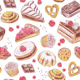 Seamless pattern with yummy cakes and cookies. Hand drawn design for cafe menu, gift paper or fabric.. - 192007533