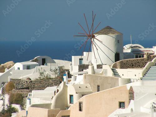 Foto op Canvas Santorini Traditional windmill in Oia, Santorini