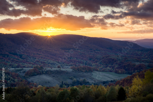 Sunset over the Rawka Mount in Bieszczady mountains at autumn, Podkarpackie, Poland