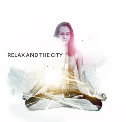 Overlay of relaxed meditating woman and busy city