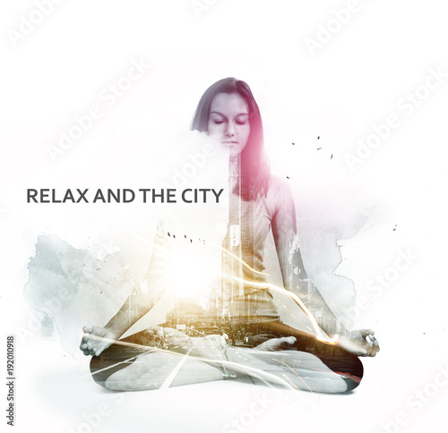Staande foto Zen Overlay of relaxed meditating woman and busy city