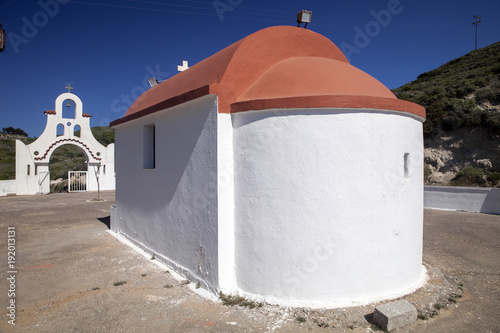 Foto op Canvas Bedehuis Orthodox church in the mountains, Rhodes, Greece