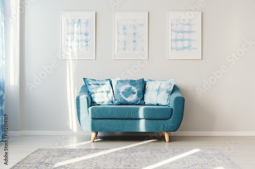 Turquoise living room with posters