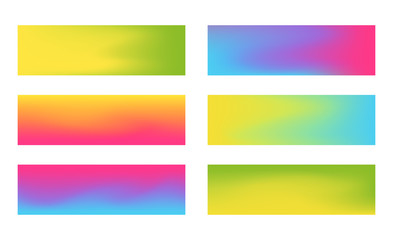 Set of 384 x 115 horizontal banners with vibrant gradient mesh