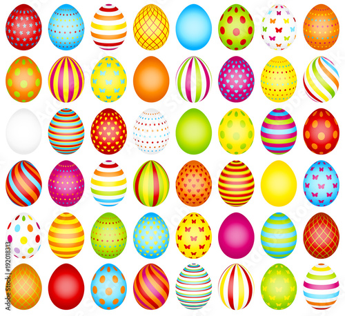 Big Set Colored Easter Eggs Pattern - 192018313
